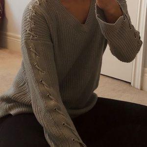 DYNAMITE Grey/Blue Knit Sweater